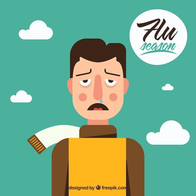 Junge mit erkältungssymptomen Kostenlosen Vektoren