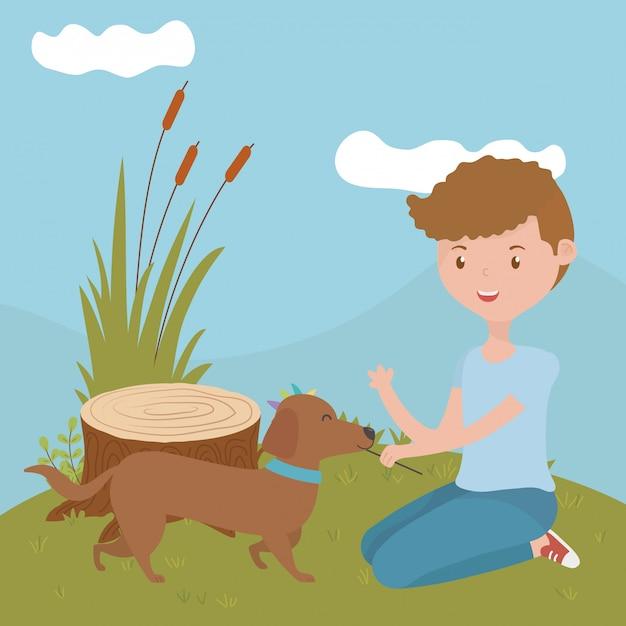 Junge mit hund der karikatur Kostenlosen Vektoren