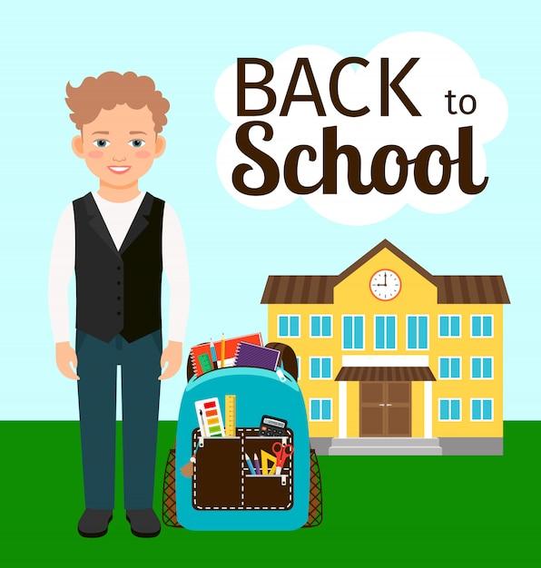 Junge mit rucksack vor der schule stehen Premium Vektoren