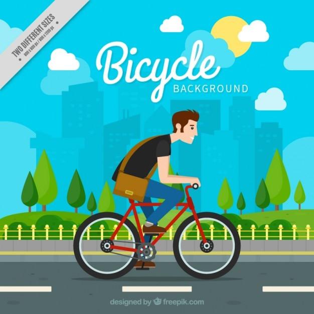 Junge mit seinem fahrrad hintergrund Kostenlosen Vektoren