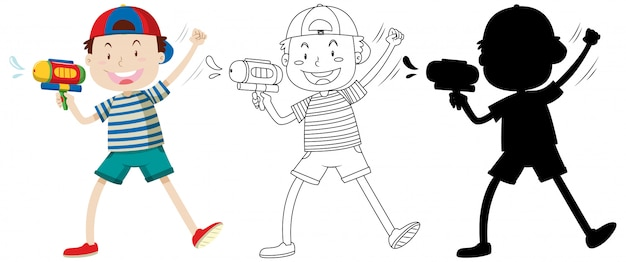 Junge mit wasserpistole in farbe und umriss und silhouette Kostenlosen Vektoren