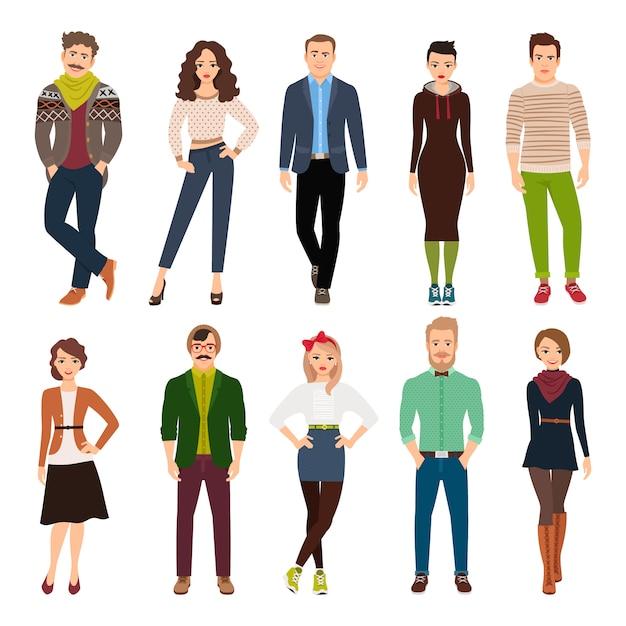 Junge modeleute der hübschen netten karikatur lokalisiert. freizeitkleidung männer und frauen vektor-illustration Premium Vektoren