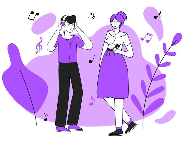 Junge musikfreunde mit kopfhörerillustration. freizeit, wandern, entspannen. teenager mit kopfhörern, schlendernde flache konturncharaktere der musikhörer lokalisiert auf weiß Premium Vektoren