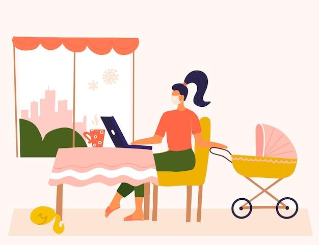 Junge mutter, die entfernt nahe kinderwagen mit baby arbeitet. freiberuflerin, die zu hause am laptop arbeitet oder studiert. freiberuflicher lebensstil. konzept mit frau auf coronavirus-quarantäne. flaches design Premium Vektoren