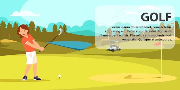 Junge nette frau im roten hemd, das golf spielt. Premium Vektoren