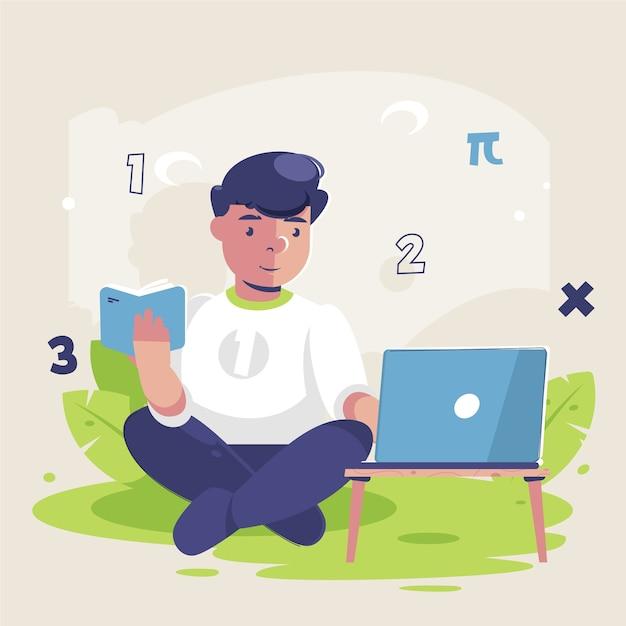 Junge nimmt online-unterricht Kostenlosen Vektoren