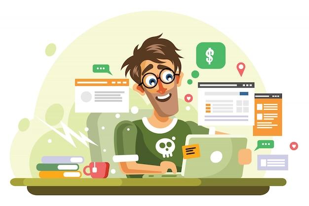 Junge onlineunternehmer-vektor-illustration Premium Vektoren