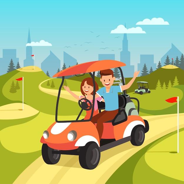 Junge paare, die durch wagen auf grünem golfplatz fahren. Premium Vektoren