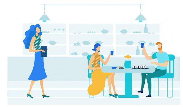 Junge paare in der sushi-bar-flachen illustration Premium Vektoren