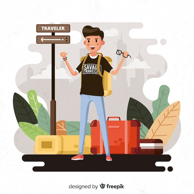 Junge reisende Kostenlosen Vektoren