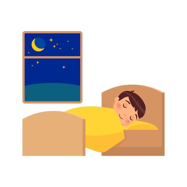 Junge schläft auf dem bett. illustration des täglichen regimes Premium Vektoren