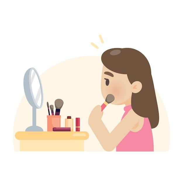 Junge schöne frau, die make-up unter verwendung einer bürste auf gesicht macht Premium Vektoren