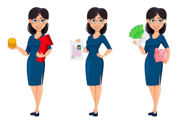 Junge schöne geschäftsfrau im blauen kleid Premium Vektoren
