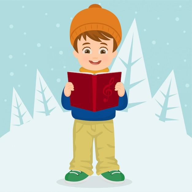 Junge singen weihnachtslieder Premium Vektoren