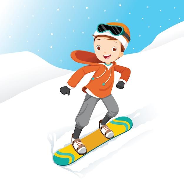 Junge snowboarden, schneefall, wintersaison Premium Vektoren