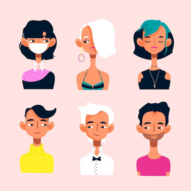 Junge start-avatare-symbolsatz Kostenlosen Vektoren