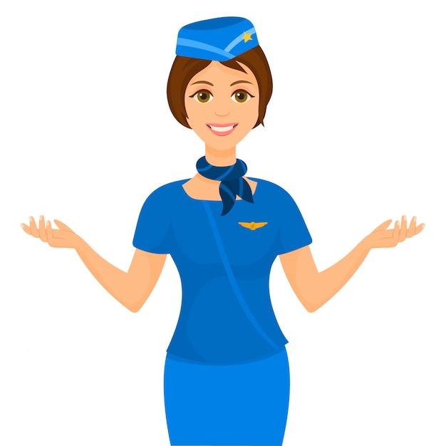 Junge stewardess, die ausgänge anzeigt Premium Vektoren