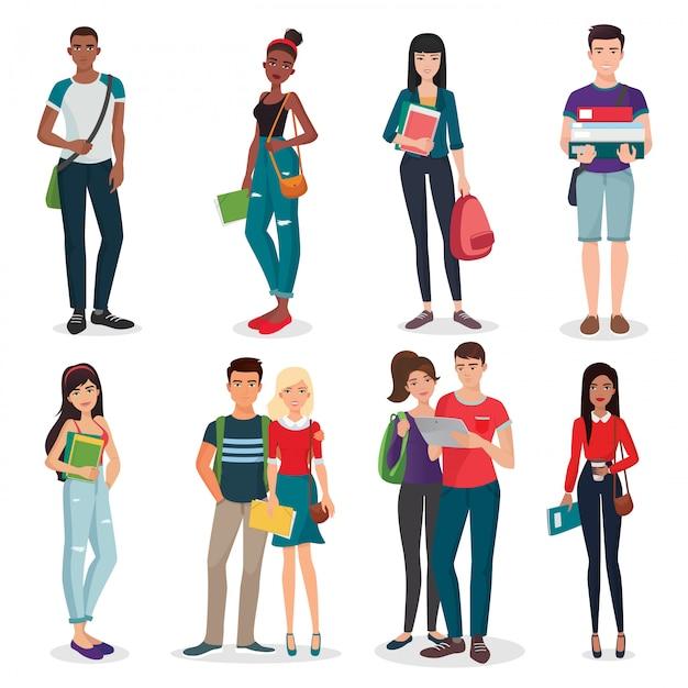 Junge studenten eingestellt Premium Vektoren