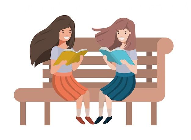 Junge studentenmädchen, die lesebuch sitzen Premium Vektoren