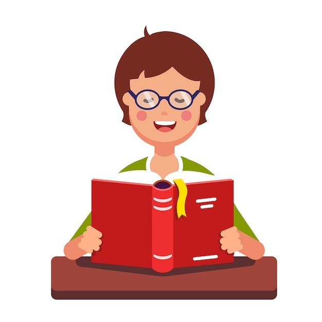 Junge studentin mit brille ein buch zu lesen Kostenlosen Vektoren