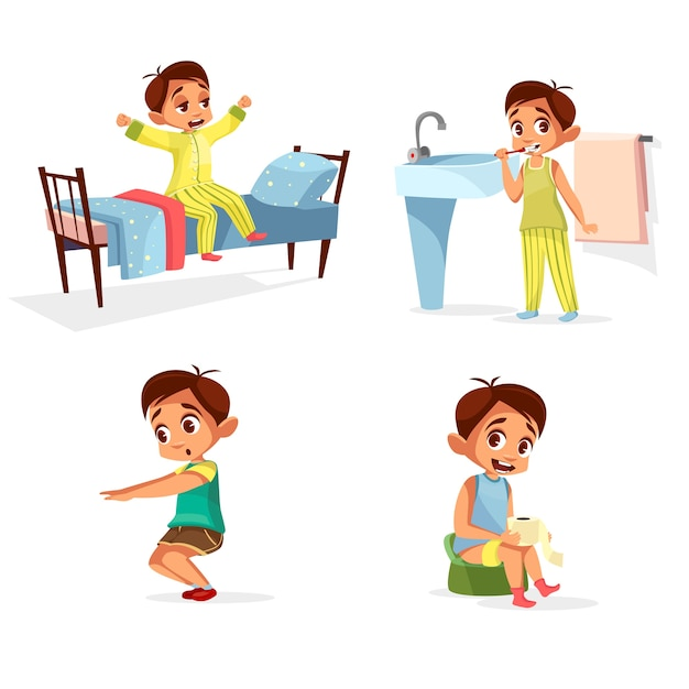 Junge tägliche routine, morgenaktivität eingestellt. männlich charakter aufwachen, strecken, zähne putzen Kostenlosen Vektoren