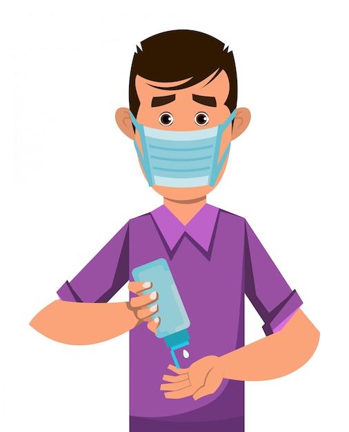 Junge tragen maske und desinfektionshände mit desinfektionsgel Premium Vektoren