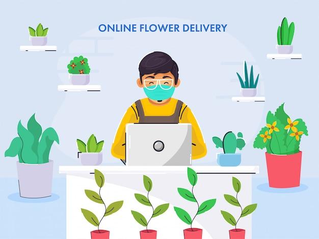 Junge tragen medizinische maske, die im laptop auf schreibtisch mit blumen und pflanzentöpfen auf blauem hintergrund für online-blumenlieferkonzept arbeitet. Premium Vektoren