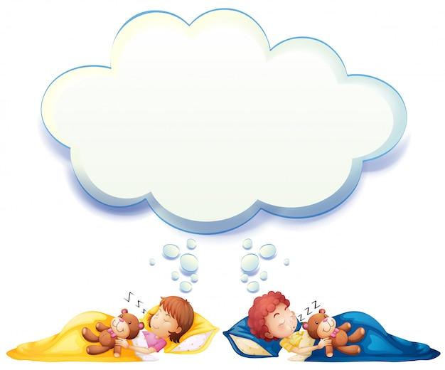 Junge und mädchen, die im bett schlafen Kostenlosen Vektoren