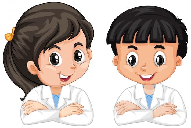 Junge und mädchen im wissenschaftskleid lokalisiert Kostenlosen Vektoren