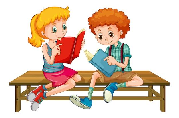 Junge und mädchen lesen ein buch Kostenlosen Vektoren