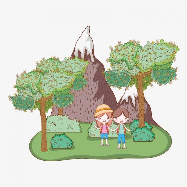 Junge und mädchen mit eisbergen und bäumen Premium Vektoren
