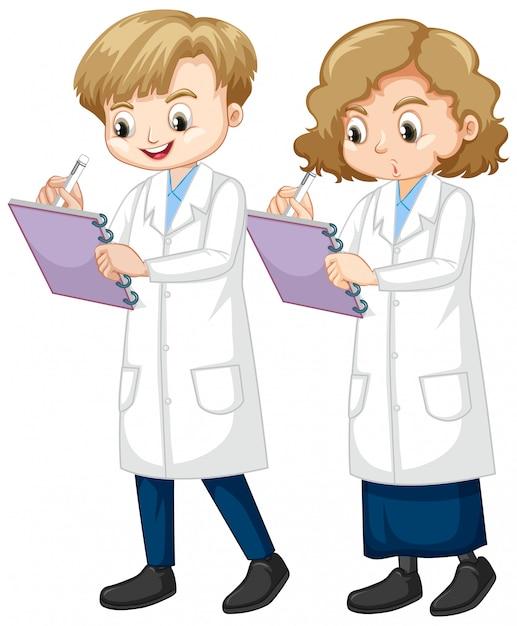 Junge und mädchen schreiben wissenschaftsnotiz auf weißem hintergrund Kostenlosen Vektoren