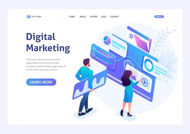 Junge unternehmer des isometrischen konzeptes bestehen auf daten für digitales marketing und annoncieren im internet schablonenlandungsseite für website Premium Vektoren