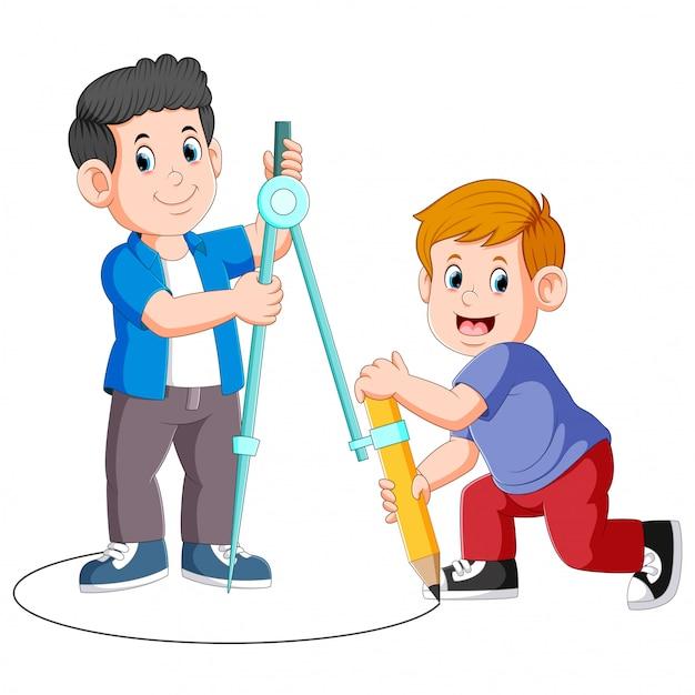 Junge zwei, der einen großen kompass und einen bleistift für das zeichnen von kreisen verwendet Premium Vektoren