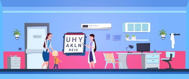 Jungen-augenuntersuchung mit augenarzt doctor in hospital office Premium Vektoren