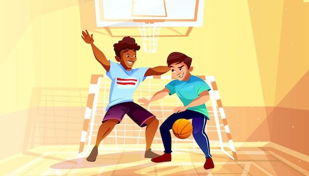Jungen, die basketballillustration des schwarzen afroen-amerikanisch jugendlich oder jungen mannes mit ball spielen Kostenlosen Vektoren