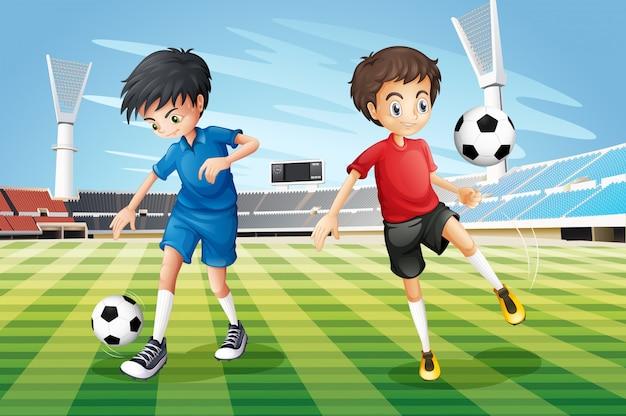 Jungen, die fußball auf dem feld spielen Kostenlosen Vektoren
