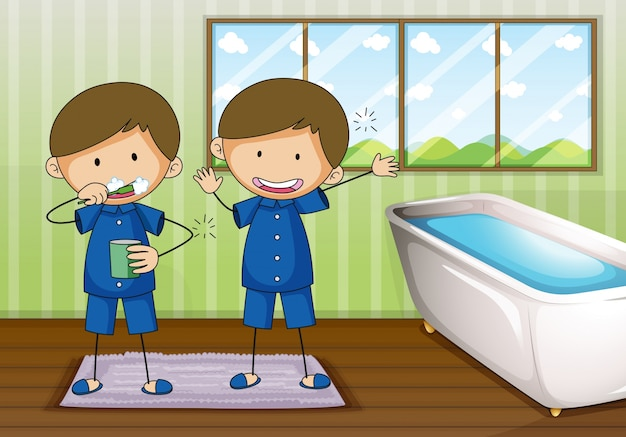 Jungen, die im badezimmer putzen und säubern   Download der Premium ...