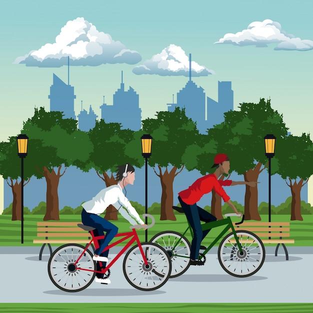Jungen fahren fahrrad park stadt hintergrund Premium Vektoren