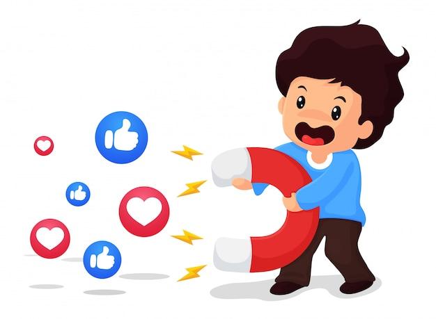 Jungen halten große magneten in der hand, um zuschauer in den sozialen medien anzulocken Premium Vektoren