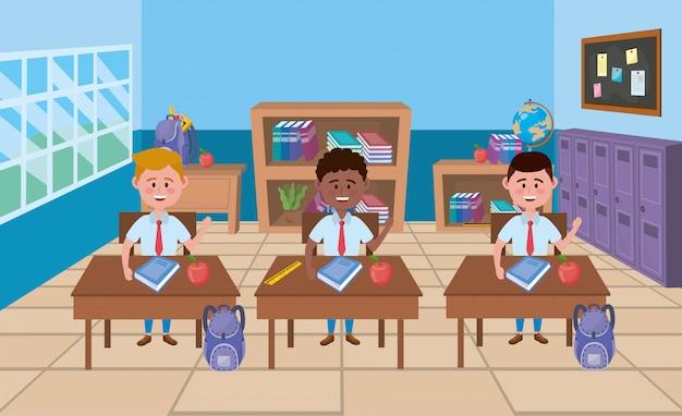 Jungen im klassenzimmer Kostenlosen Vektoren