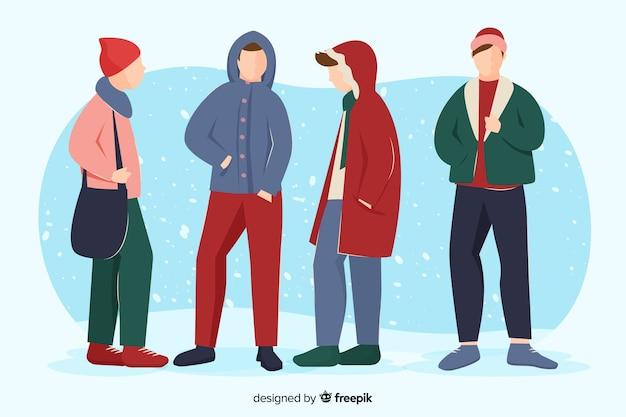 Jungen in winterkleidung Kostenlosen Vektoren