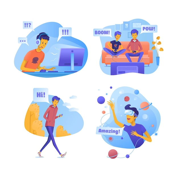 Jungen mit modernen gadgets illustrationen gesetzt Premium Vektoren
