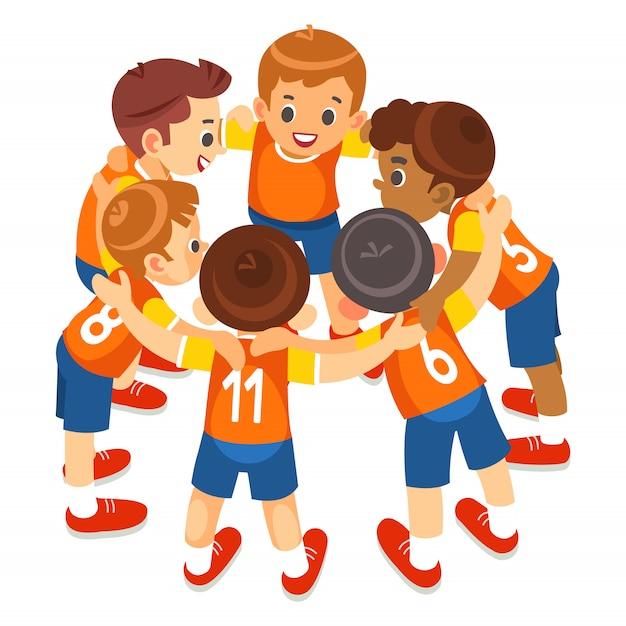 Jungen-sportmannschaft auf stadion. fußballspieler in sportbekleidung motivieren vor dem spiel. jugendfußballturnierspiel für kinder. isoliert Premium Vektoren
