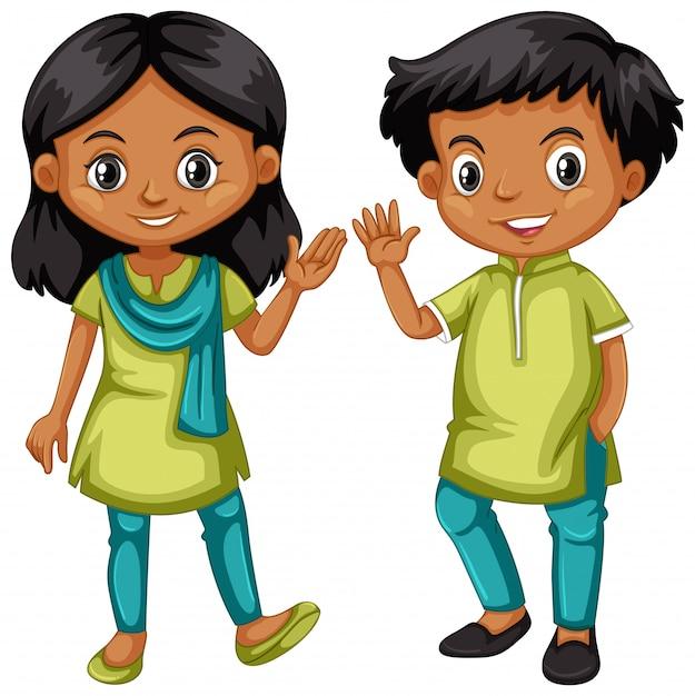 Jungen und mädchen aus indien im grünen und blauen outfit Kostenlosen Vektoren