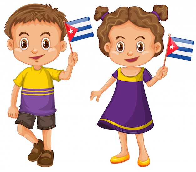 Jungen und mädchen, die flagge von kuba halten Kostenlosen Vektoren