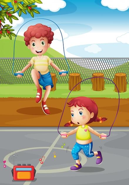 Jungen und mädchen machen jumprope im park Kostenlosen Vektoren