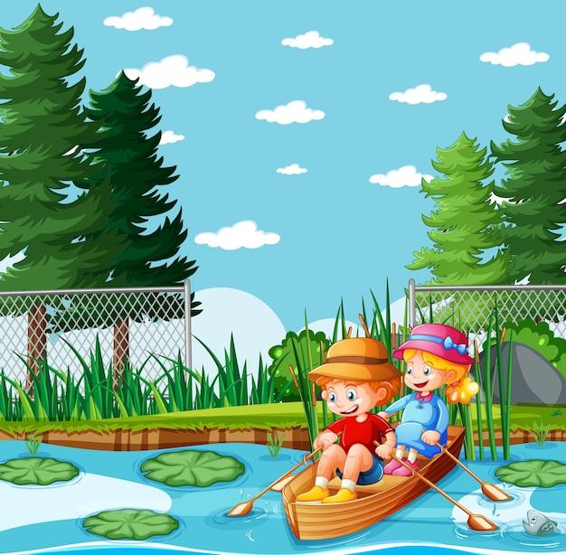Jungen und mädchen rudern das boot im naturpark Kostenlosen Vektoren