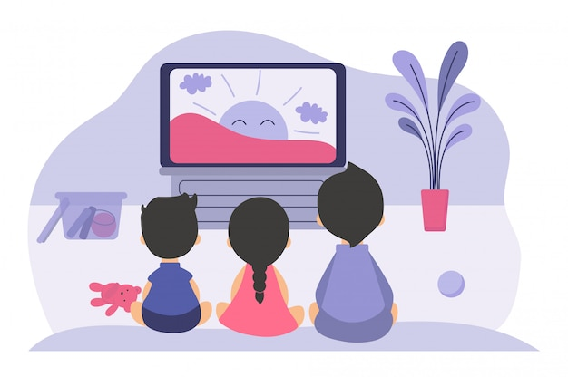 Jungen und mädchen sitzen am fernsehbildschirm Kostenlosen Vektoren