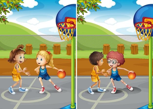 Jungen und mädchen spielen basketball Premium Vektoren